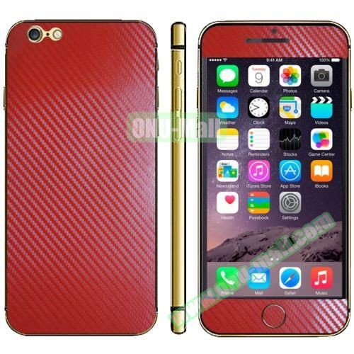 Carbon Fiber Texture Mobile Phone Decal Stickers for iPhone 6 Plus (Red)
