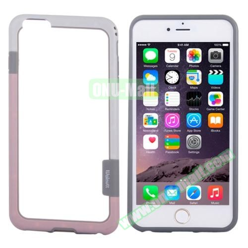 Two-tone Plastic Bumper Frame Case for iPhone 6 Plus (White+Pink)