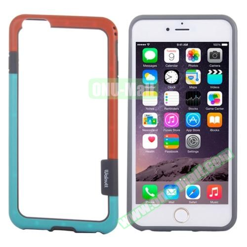 Two-tone Plastic Bumper Frame Case for iPhone 6 Plus (Red+Blue)