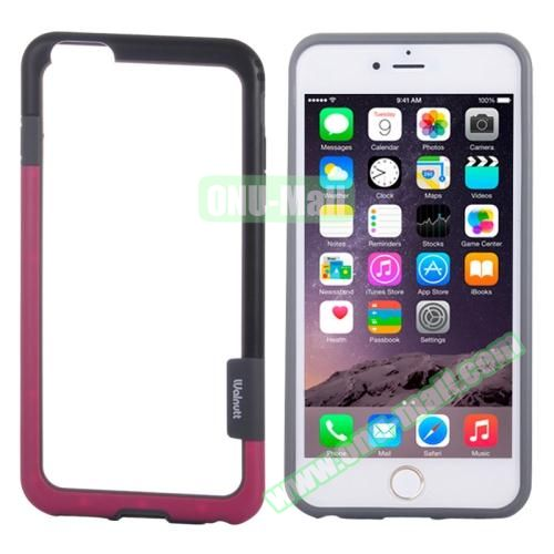 Two-tone Plastic Bumper Frame Case for iPhone 6 Plus (Black+Rose)
