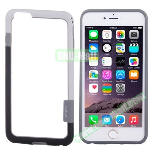 Two-tone Plastic Bumper Frame Case for iPhone 6 4.7 (Black+White)