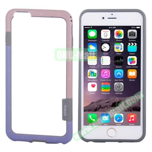 Two-tone Plastic Bumper Frame Case for iPhone 6 Plus (Pink+Purple)