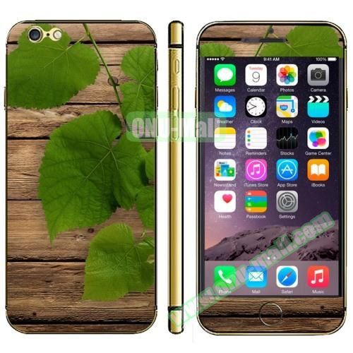 Wood Design Full Decoration Decal Stickers for iPhone 6 Plus (Green Leaf)