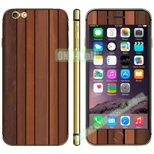 Wood Design Full Decoration Decal Stickers for iPhone 6 Plus (Stripe Wood)
