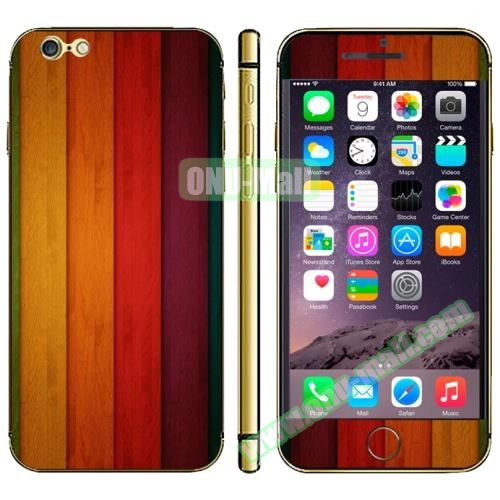 Wood Design Full Decoration Decal Stickers for iPhone 6 (Colorful Wood)