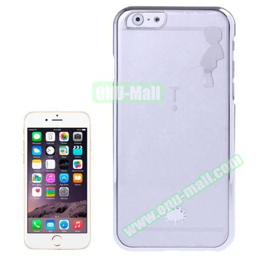 Manneken Pis Pattern Electroplated Frame Transparent Plastic Case for iPhone 6 4.7 (Silver)