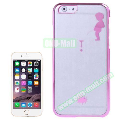 Manneken Pis Pattern Electroplated Frame Transparent Plastic Case for iPhone 6 Plus (Rose)