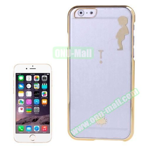 Manneken Pis Pattern Electroplated Frame Transparent Plastic Case for iPhone 6 Plus (Gold)