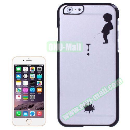 Manneken Pis Pattern Electroplated Frame Transparent Plastic Case for iPhone 6 4.7 (Black)