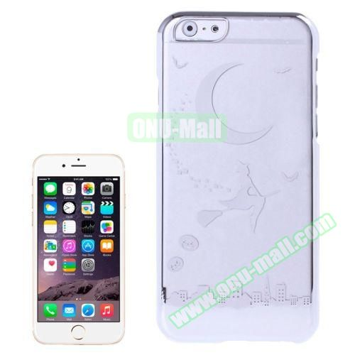 Magician and Moon Pattern Electroplated Frame Transparent Plastic Case for iPhone 6 4.7 (Silver)