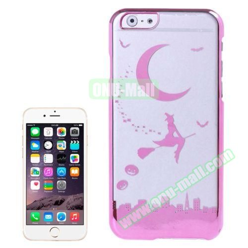 Magician and Moon Pattern Electroplated Frame Transparent Plastic Case for iPhone 6 4.7 (Pink)
