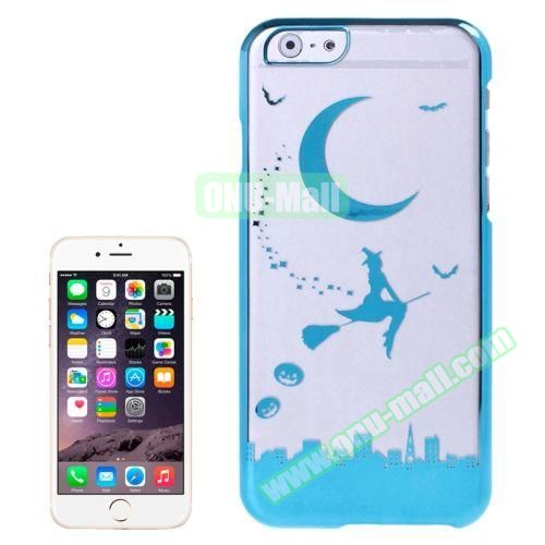Magician and Moon Pattern Electroplated Frame Transparent Plastic Case for iPhone 6 4.7 (Blue)