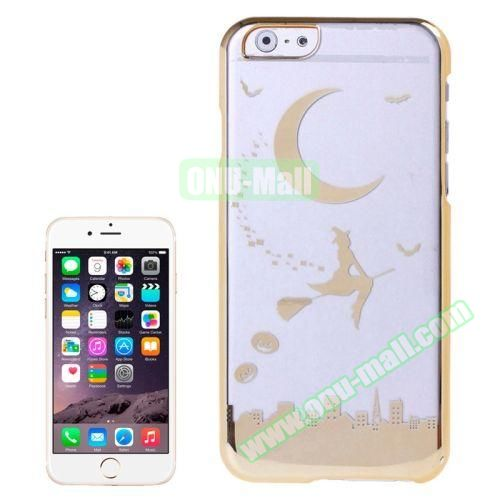 Magician and Moon Pattern Electroplated Frame Transparent Plastic Case for iPhone 6 Plus (Gold)