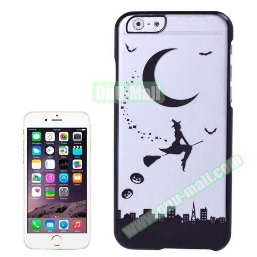 Magician and Moon Pattern Electroplated Frame Transparent Plastic Case for iPhone 6 4.7 (Black)