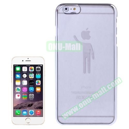 Human Pattern Electroplated Frame Transparent Plastic Case for iPhone 6 Plus (Silver)
