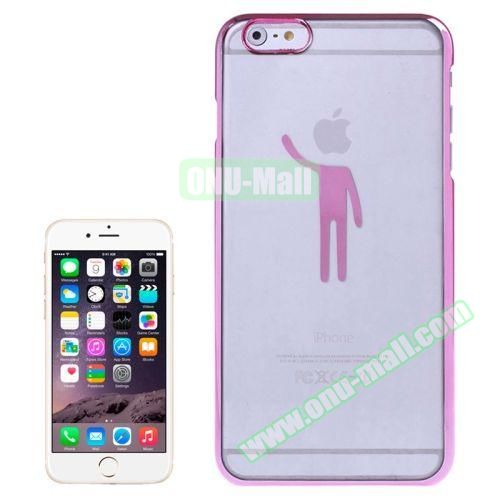 Human Pattern Electroplated Frame Transparent Plastic Case for iPhone 6 (Pink)