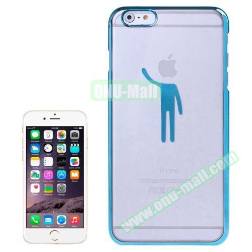 Human Pattern Electroplated Frame Transparent Plastic Case for iPhone 6 (Blue)