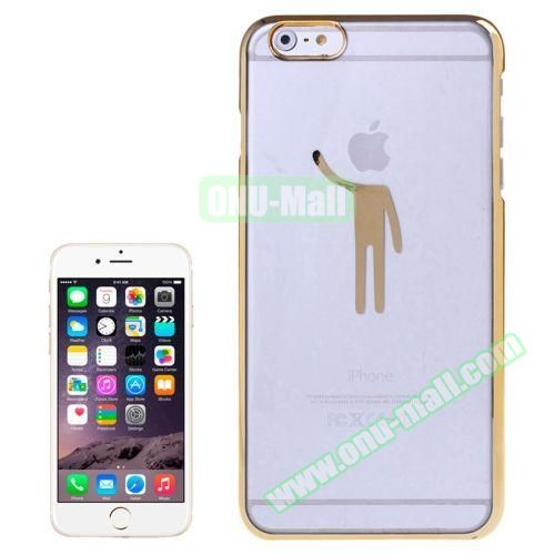 Human Pattern Electroplated Frame Transparent Plastic Case for iPhone 6 Plus (Gold)