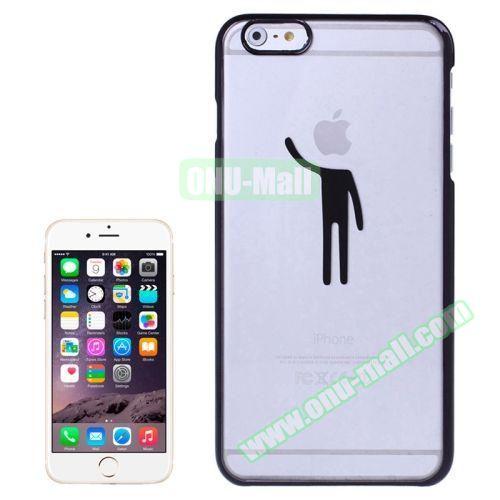 Human Pattern Electroplated Frame Transparent Plastic Case for iPhone 6 (Black)