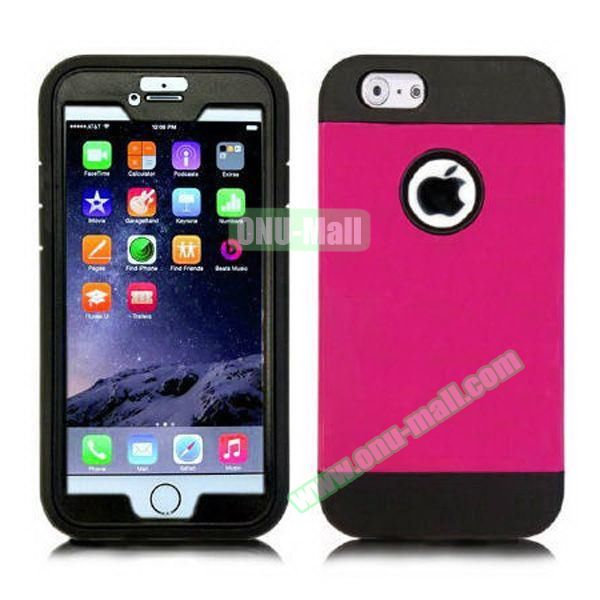 Four in One Pattern PC+TPU Shock Proof Armor Hybrid Case for iPhone 6 with Built-in Screen Protector and Belt Clip (Rose)