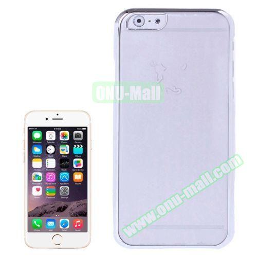 Little Devil Fork Pattern Ultrathin Plating Border Transparent Plastic Case for iPhone 6 Plus (Silver)
