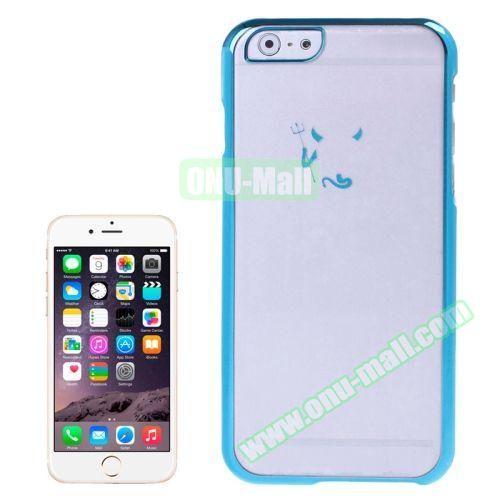 Little Devil Fork Pattern Ultrathin Plating Border Transparent Plastic Case for iPhone 6 4.7 Inch (Blue)