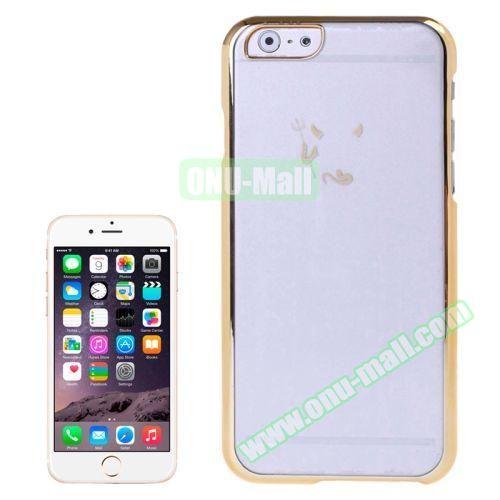 Little Devil Fork Pattern Ultrathin Plating Border Transparent Plastic Case for iPhone 6 Plus (Gold)