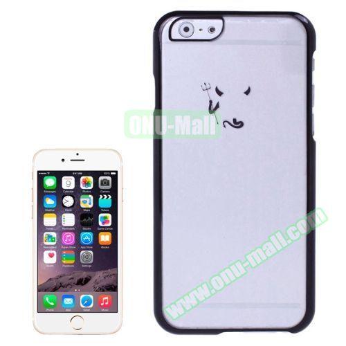 Little Devil Fork Pattern Ultrathin Plating Border Transparent Plastic Case for iPhone 6 Plus (Black)