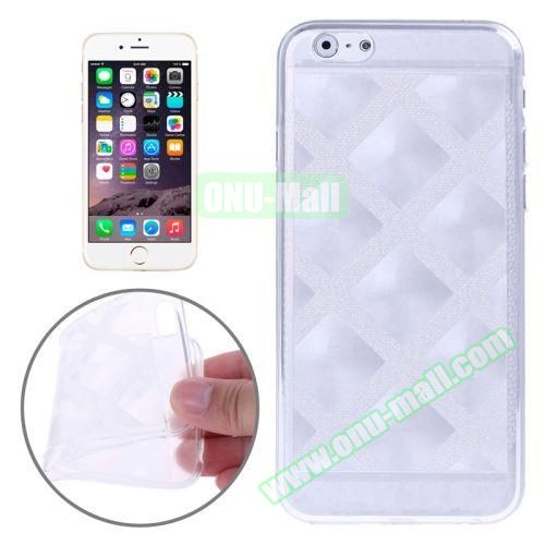 Block Plaid Soft TPU Case Cover for iPhone 6 Plus (White)