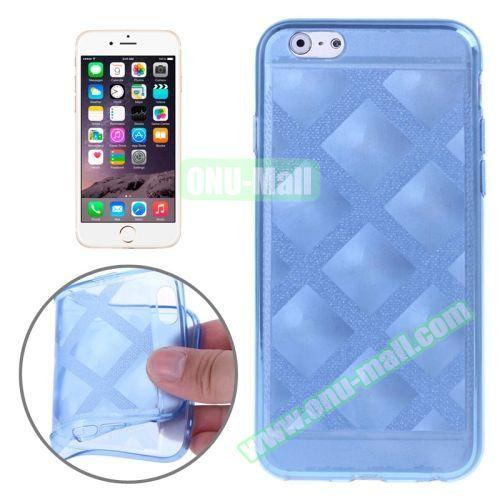 Block Plaid Soft TPU Case Cover for iPhone 6 Plus (Blue)
