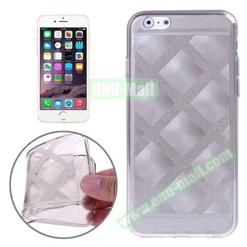 Block Plaid Soft TPU Case Cover for iPhone 6 Plus (Grey)