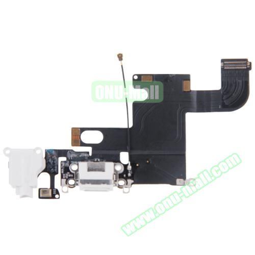 Charging Port Dock Connector Flex Cable Replacement for iPhone 6 (White)
