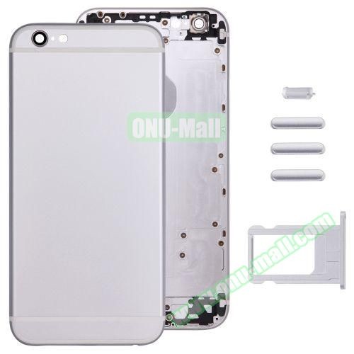Back Cover with Card Tray & Volume Control Key & Power Button & Mute Switch Vibrator Key Replacement for iPhone 6 (Silver)
