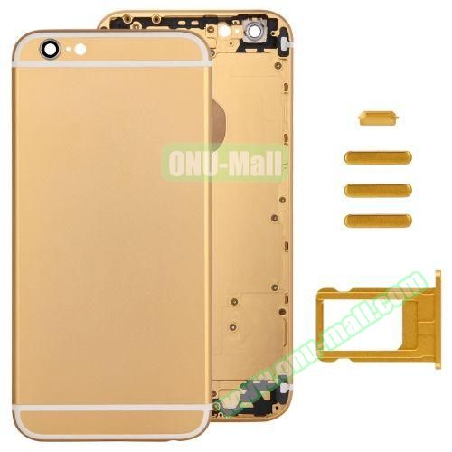 Back Cover with Card Tray & Volume Control Key & Power Button & Mute Switch Vibrator Key Replacement for iPhone 6 (Yellow)
