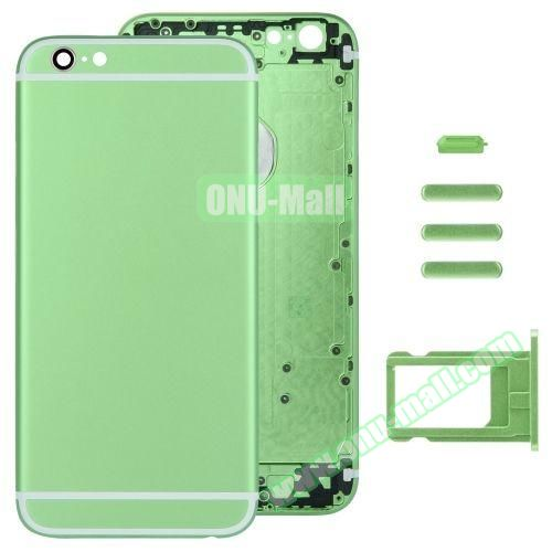 Back Cover with Card Tray & Volume Control Key & Power Button & Mute Switch Vibrator Key Replacement for iPhone 6 (Green)