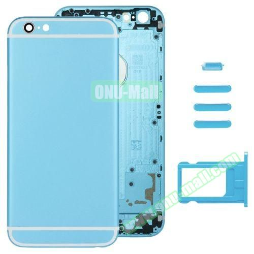 Back Cover with Card Tray & Volume Control Key & Power Button & Mute Switch Vibrator Key Replacement for iPhone 6 (Light Blue)