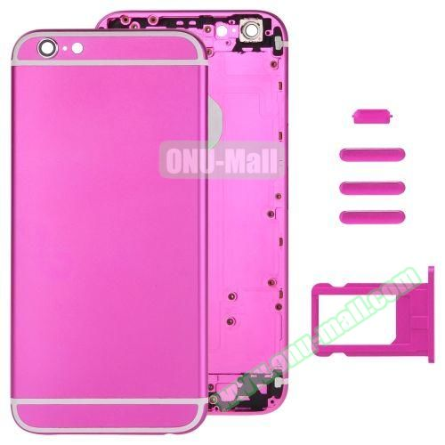 Back Cover with Card Tray & Volume Control Key & Power Button & Mute Switch Vibrator Key Replacement for iPhone 6 (Rose)