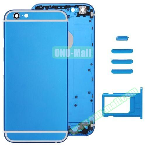 Back Cover with Card Tray & Volume Control Key & Power Button & Mute Switch Vibrator Key Replacement for iPhone 6 (Blue)