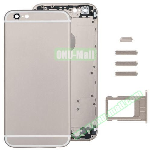 Back Cover with Card Tray & Volume Control Key & Power Button & Mute Switch Vibrator Key Replacement for iPhone 6 (Gold)