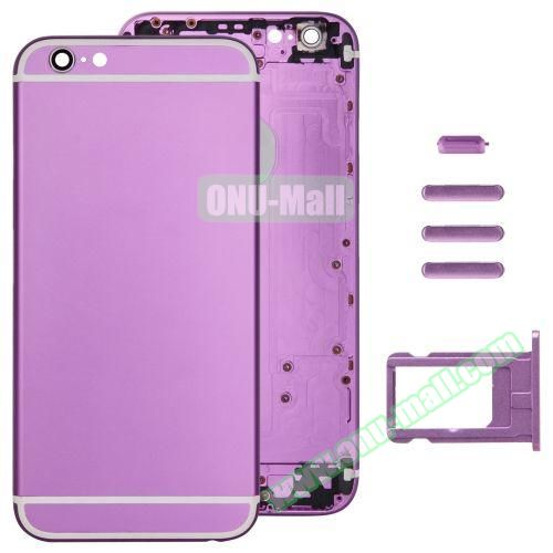 Back Cover with Card Tray & Volume Control Key & Power Button & Mute Switch Vibrator Key Replacement for iPhone 6 (Purple)