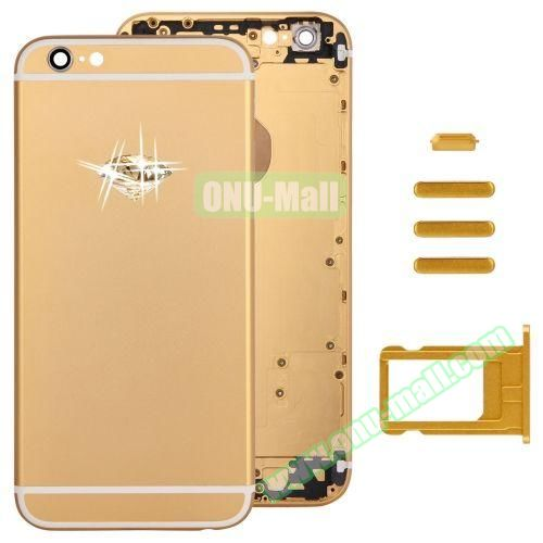 Gold Diamond Encrusted Back Cover with Card Tray & Volume Control Key & Power Button & Mute Switch Vibrator Key Replacement for iPhone 6 (Gold)
