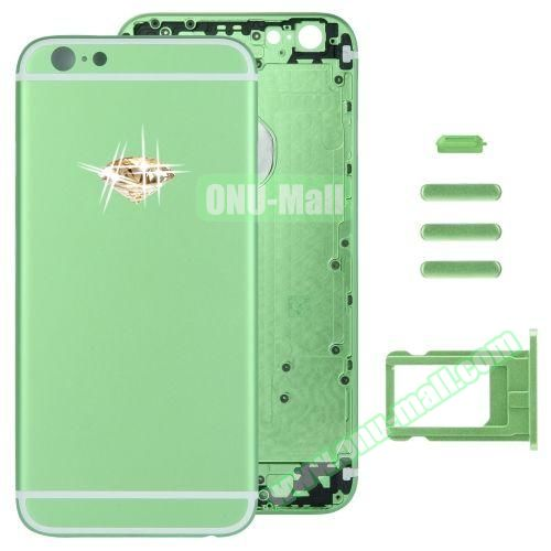 Gold Diamond Encrusted Back Cover with Card Tray & Volume Control Key & Power Button & Mute Switch Vibrator Key Replacement for iPhone 6 (Green)