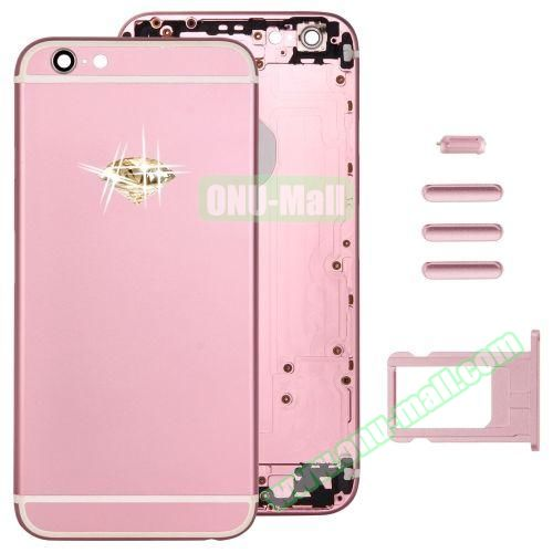 Gold Diamond Encrusted Back Cover with Card Tray & Volume Control Key & Power Button & Mute Switch Vibrator Key Replacement for iPhone 6 (Pink)