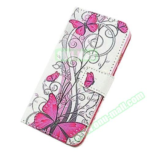 Colorful Design Flip Leather Case for iPhone 6 4.7 inch (Red Butterfly)