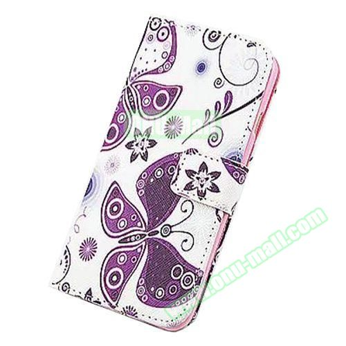 Colorful Design Flip Leather Case for iPhone 6 4.7 inch (Purple Butterfly)