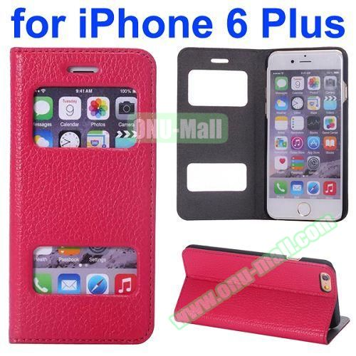 Two Window Opened Flip Cow Leather Case for iPhone 6 Plus (Rose)
