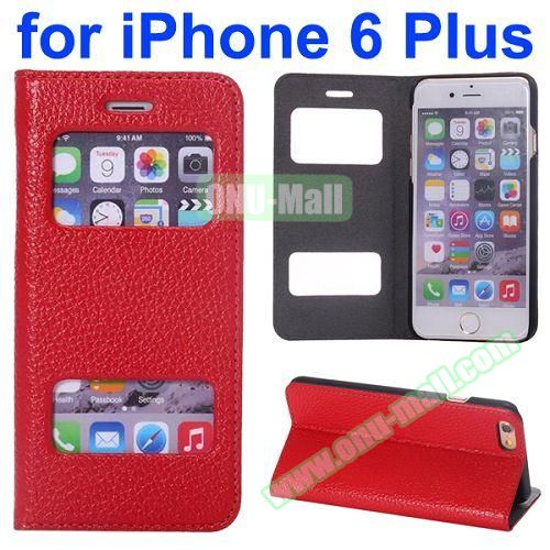 Two Window Opened Flip Cow Leather Case for iPhone 6 Plus (Red)