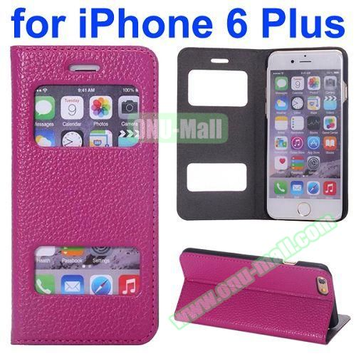 Two Window Opened Flip Cow Leather Case for iPhone 6 Plus (Pink)