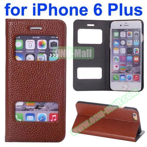 Two Window Opened Flip Cow Leather Case for iPhone 6 Plus (Coffee)