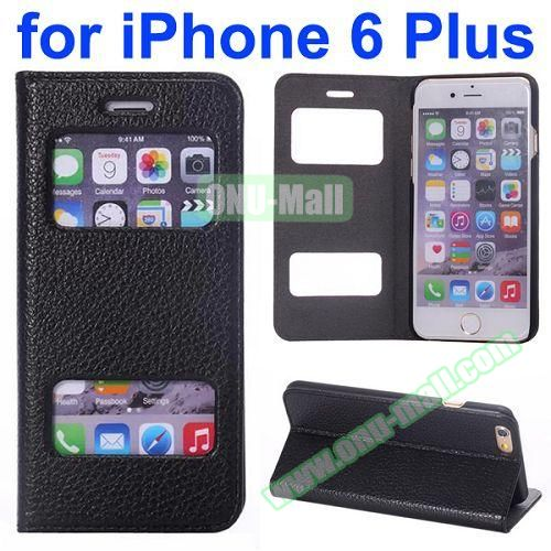 Two Window Opened Flip Cow Leather Case for iPhone 6 Plus (Black)